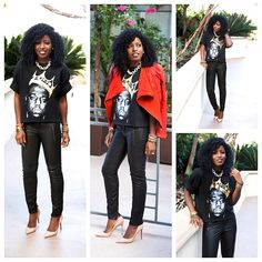 Cool way to jazz up a graphic tshirt. black skinny leathers with a pair of nude pumps. Leather Motorcycle Pants, Style Pantry, Leather Jacket Outfits, Diva Fashion, Fashion Bloggers, Fashion Ideas, Rocker Style, Black Skinnies, Swagg
