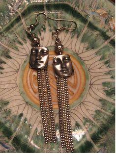 Someone on My Shoulders Long Dangle earrings Handmade by Robin Gilmore