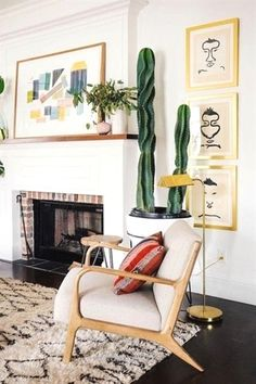 Nice These are the top home decor trends on pinterest that you can add to your home ASAP. We love these prints paired with this mid-century modern chair (and the indoor cactus of course!).   ..