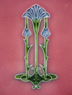 This beautiful Art Nouveau thistle design appears on a tile of a washstand.
