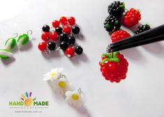 "Bracelet ""Raspberries"" (polymer clay)"