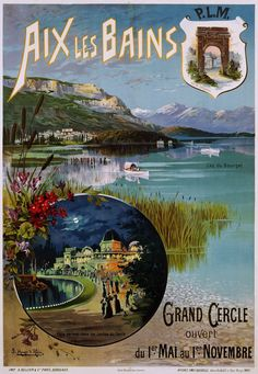 Fantastic Glossy Print - 'Aix Les Bains' - Taken From A Rare Vintage Travel Poster (Vintage Travel / Transport Posters) Poster Ads, Advertising Poster, Vintage Travel Posters, Vintage Ads, Poster Vintage, French Vintage, Evian Les Bains, Ville France, Old Advertisements