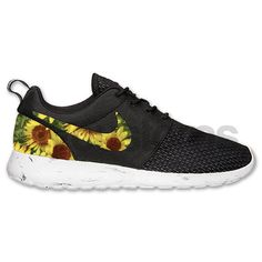 Nike Roshe Run Black White Marble Sunflower Floral V2 Custom