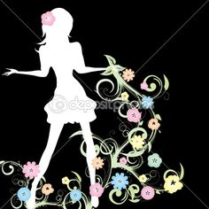 Spring girl on black background — Imagen vectorial #2631772