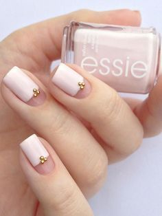 Add gold caviar beads to a color block nail for a little extra wedding glam.