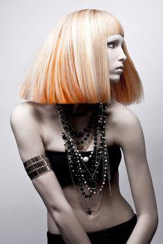 A long blonde straight coloured avant garde multi-tonal smooth Womens haircut poker-straight hairstyle by Michael Levine Modern Hairstyles, Creative Hairstyles, Straight Hairstyles, Cool Hairstyles, Blonde Hairstyles, Love Hair, Great Hair, Dreads, Hair Rainbow