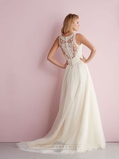 Straps A-line V-neck Wedding Dress with Illusion Back - LightIndreaming
