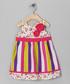 Take a look at this Pink & Purple Stripe Rosette Dress - Infant, Toddler & Girls by Beebay on #zulily today!
