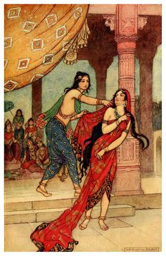 Warwick Goble - 1913 edition of Indian Myth and Legend by Donald MacKenzie - The ordeal of Queen Draupadi