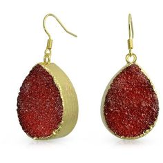 Bling Jewelry Bling Jewelry Yellow Gold Plated Druzy Agate Teardrop... ($13) ❤ liked on Polyvore featuring jewelry, earrings, red, gold tear drop earrings, dangle earrings, red earrings, iridescent earrings and druzy earrings