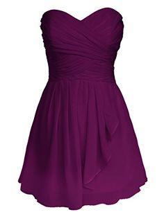 Dresstells Sweetheart Homecoming Dress with Pleats Short Bridesmaid Dress Grape Size 2 Bridesmaid Tori