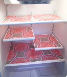 Use  place mats to keep the shelves and drawers of the fridge from getting covered in gunk, making it easier to clean