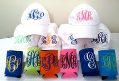 Monogrammed hat and monogrammed koozie set