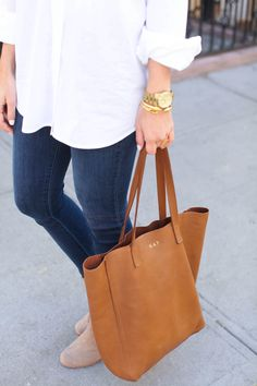 Monogramed Cuyana Tall Leather Tote in Caramel--