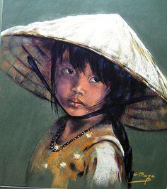 Eliane Bordarier portrait au pastel sec  «Ly Yung, princesse des rizières»
