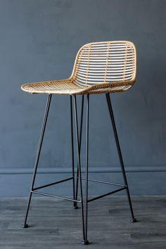Blonde Rattan Bar Stool   Stools U0026 Bar Stools   Furniture