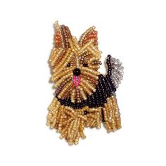 YORKIE Yorkshire Terrier beaded dog pin pendant art brooch
