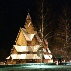 Heddal Stav Church in the snow.