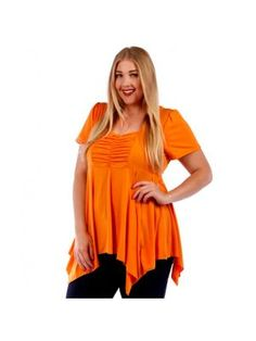 Plus Size Tunic Style Orange Top with Back Tie