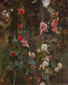 John Singer Sargent, Hollyhocks, circa 1886. Oil on canvas, 101.1 x 83.8