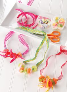 Candy necklaces.  Great idea for both a project & favor at a girl's birthday party.