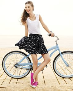 Loving this Old Navy summer look featuring a sleeveless tee and smocked skirt combination.