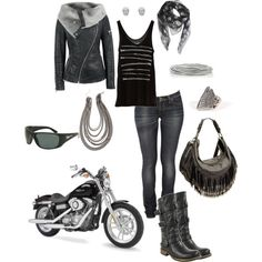 biker babe, created by mammabird on Polyvore