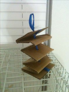 Homemade bird toy I made out of a cardboard box section and plastic handle from a garbage bag. I bent up the long card board piece like an accordion, shoved a sharp scissor end through the middle, ran the plastic ribbon through it, and tied it at each end - making a loop on one side for easy hanging. My parrotlet should love to tear this up. Cheap and super easy!