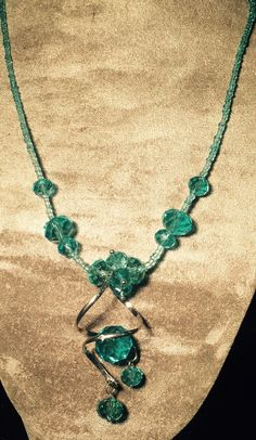 Aqua Blue Glass Bead Necklace via Debbie's Shop. Click on the image to see more!