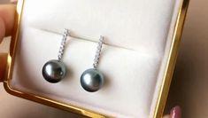 Tahitian Pearl Earrings, Tahitian Black Pearls, Pearl Necklace, Gold N, 18k Gold, White Gold, Diamond Design, Pearl Pendant, Pearl Jewelry