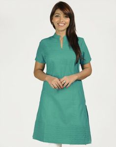 Cotton Mangalgiri Plain Yoke Pintuck Mini Kurta