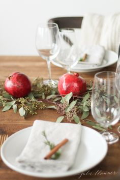 Christmas centerpiece and table setting