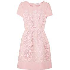 Oscar de la Renta Lace and silk-faille dress (25.328.570 IDR) ❤ liked on Polyvore featuring dresses, vestidos, oscar de la renta, pink, lace applique dress, pink dress, pink silk dress and silk faille dress