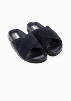 21a94500898 Other Stories image 2 of Wide Strap Suede Slides in Navy Suede Sandals