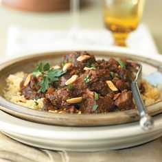 Use a slow cooker to simmer this hearty Moroccan-style lamb stew. Serve over hot couscous with a side of steamed green beans. Slow Cooker Brisket, Best Slow Cooker, Slow Cooker Recipes, Crockpot Recipes, Cooking Recipes, Crockpot Lamb, Venison Recipes, Slow Cooking, Cooking Light