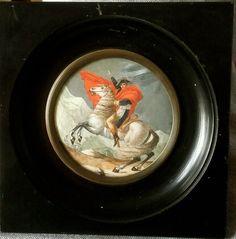 Antique Miniature Portrait Of Napoléon Bonaparte  in the col du saint bernard