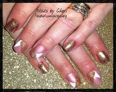 Nude and gold glitter on acrylic by Cheri