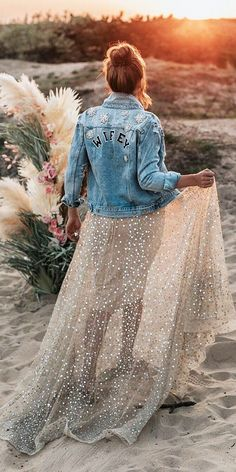 Hottest Trend 18 Wedding Jackets ★ wedding jackets denim with decals country boho iay iamyours boho wedding Hottest Trend 18 Wedding Jackets Luxury Wedding Dress, Wedding Dress Trends, Boho Wedding Dress, Wedding Bride, Denim Wedding Dresses, Forest Wedding, Woodland Wedding, Blue Wedding, Wedding Gowns With Sleeves