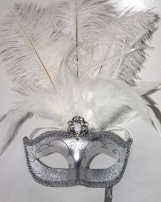 Stunning Silver  and White Feather Masquerade by MasksandTiaras
