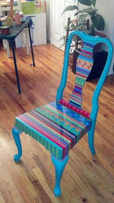 30 Creative DIY Painted Chair Design Ideas - Page 17 of 39 Hand Painted Chairs, Whimsical Painted Furniture, Painted Stools, Hand Painted Furniture, Funky Furniture, Colorful Furniture, Paint Furniture, Upcycled Furniture, Unique Furniture