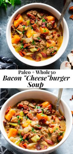 """Bacon Cheeseburger Soup {Paleo, The Paleo Running Momma - This creamy, """"cheesy"""" bacon cheeseburger soup is cozy filing comfort food that's insanely del - Whole 30 Soup, Paleo Whole 30, Whole 30 Recipes, Whole30 Soup Recipes, Paleo Soup, Healthy Recipes, Paleo Meals, Advocare Recipes, Cooking Recipes"""