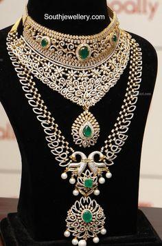Diamond Emerald Choker and Haram Set - Indian Jewellery Designs Indian Jewelry Sets, Indian Jewellery Design, Indian Wedding Jewelry, Latest Jewellery, Bridal Jewelry Sets, Jewelry Design, Bridal Jewellery, Bridal Sets, Unusual Jewelry