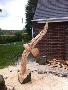 chainsaw carved Flying Owl