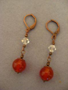 Carnelian Dangle Earrings by stormy53 on Etsy, $18.00