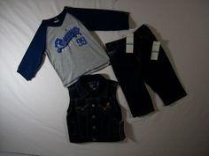 Rocawear Boys Size 6-9 Months Outfit Blue Denim 3 Piece Set Vest, Pants, Top #Rocawear #Everyday Cheap Baby Stuff, 3 Piece, Blue Denim, Vest, Boys, Pants, Jackets, Outfits, Fashion