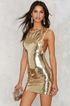 Gold Sequins Decor Sleeveless Zipper Back Sexy Bodycon Dress Gold Dress maykool Tight Dresses, Sexy Dresses, Beautiful Dresses, Casual Dresses, Short Dresses, Mini Dresses, Sequin Mini Dress, Metallic Dress, Embellished Dress