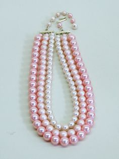 The Charlotte  Vintage Pale Pink Ombre Three Strand by briarwood, $24.00