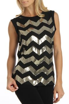Zig Zag Sequined Top