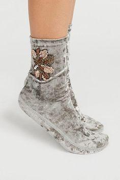 Kisses Embellished Velvet Sock by Free People