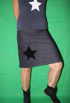 Jeansrock Stretch Rock Stern Jeans Rock von MeinekreativeWelt